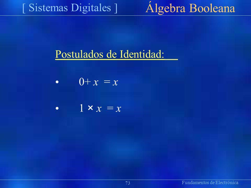 Álgebra Booleana [ Sistemas Digitales ] Postulados de Identidad: •